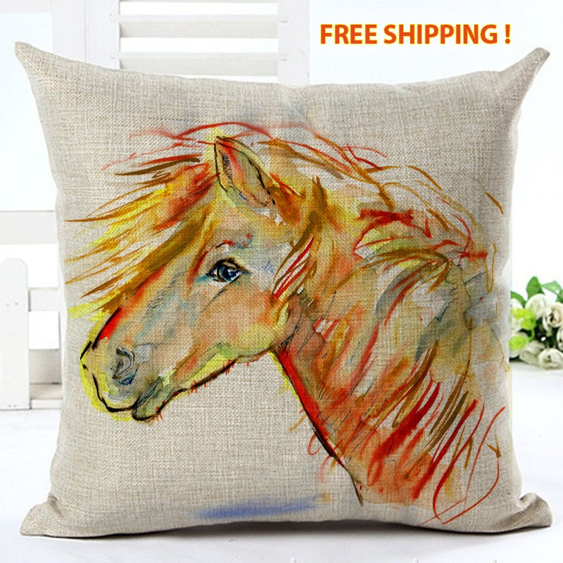 New Arrival High Quality Horse Home living Cotton linen Decorative Pillow Cover