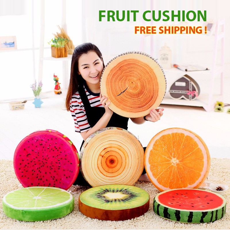 New Creative 3D Summer Fruit PP Cotton Office Chair Sofa Back Cushion