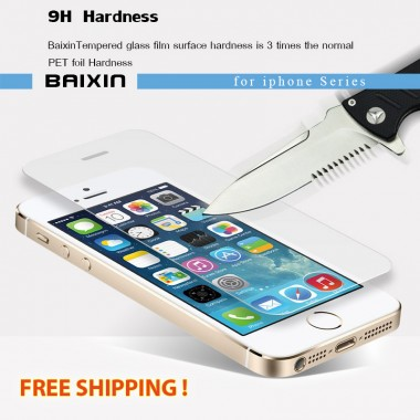 9H tempered glass iphone screen protector protective guard film +clean kits